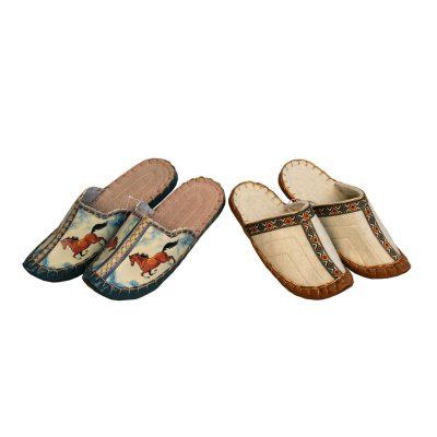 Leather & felt slippers